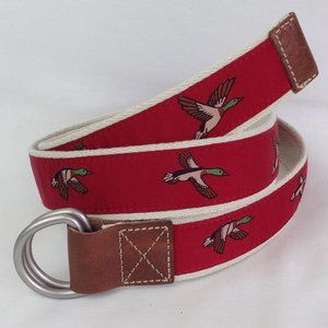 CREMIEUX Mens Fabric/Leather Belt D-Ring Red Ducks